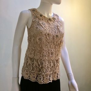 Ann Taylor Broderie Lace Crystal Embellished Tank